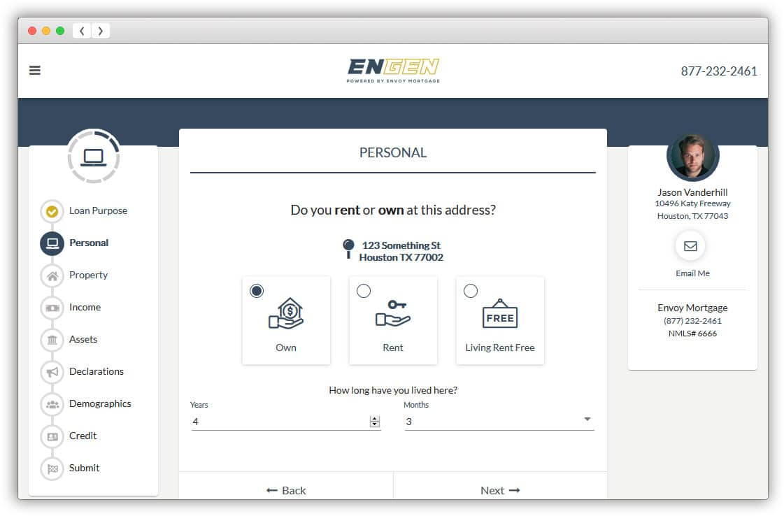 Envoy EnGen Digital Mortgage Current Address